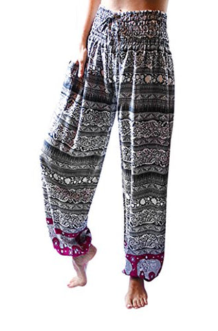 PIYOGA Women's Boutique Lounge and Bohemian Yoga Pants, Scrunched Bottom (Stretches from US Size 0-12) - Boutique Elephant