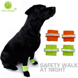 2pcs/set Reflecting Safety Pet Dog Wristband for Night Running Hiking Dog Walking Ankle Accessories Bracelet Set Ring Protection