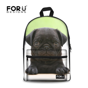 FORUDESIGNS Funny 3D Pug Dog Student School Bags Book Bags Casual Women Shoulder Laptop Backpack Daily Bagpack Mochilas Infantil