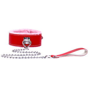 Dog Training Necklace Comfortable Leather Neck Collar with Chain Leash