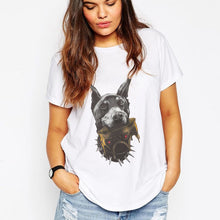 H457 Summer Personality Black Dog Printing Women T shirt Unisex Cool Casual Tops