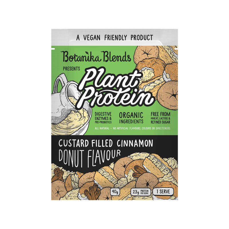 Plant Protein - Custard Filled Cinnamon Donut Flavour - Botanica Blends 500g