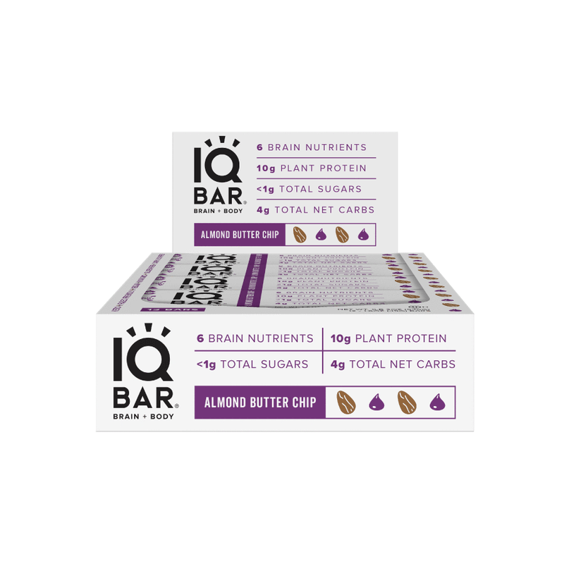 IQ Bar - Almond Butter Chip - Box of 12 - 540g