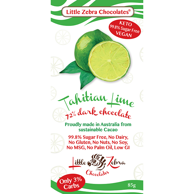 Tahitian Lime Dark Chocolate - Little Zebra - 85g