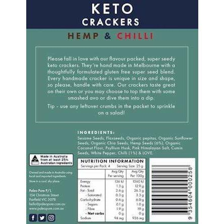 Keto Crackers - Hemp & Chilli - Paleo Pure - 140g