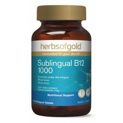 Sublingual B12 1000 Herbs of Gold - 75 Tablets