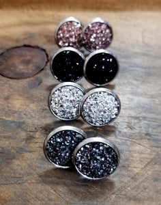Druzy Stud Earrings-JazzieJ'sJewelry