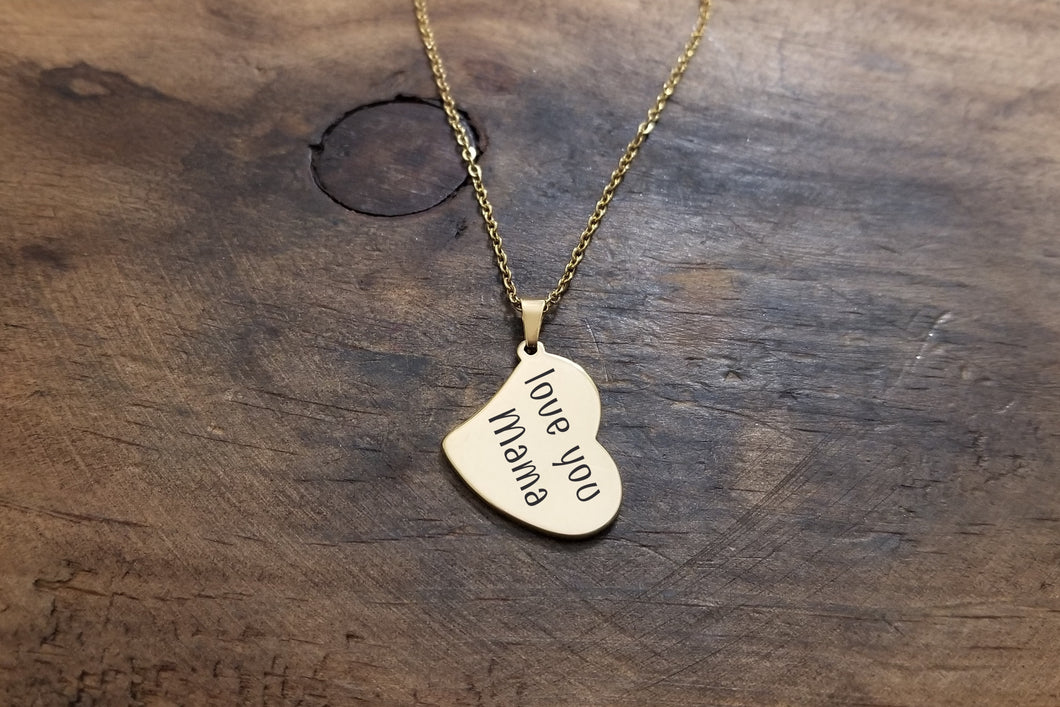 Gold Handwritten Heart Necklace-JazzieJ'sJewelry