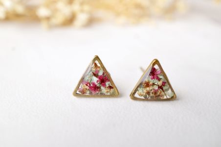 Real Pressed Flowers and Resin Triangle Stud Earrings