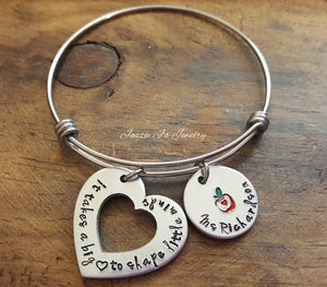 It Takes A Big Heart To Shape Little Minds Bangle-JazzieJ'sJewelry