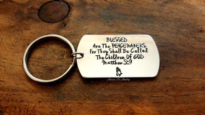 Blessed Are The Peacemakers Keychain-JazzieJ'sJewelry