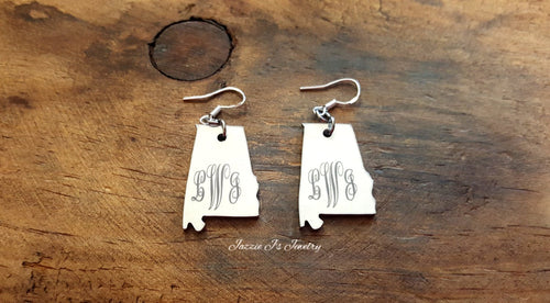 Bama Girl Monogram Initial Earrings-JazzieJ'sJewelry