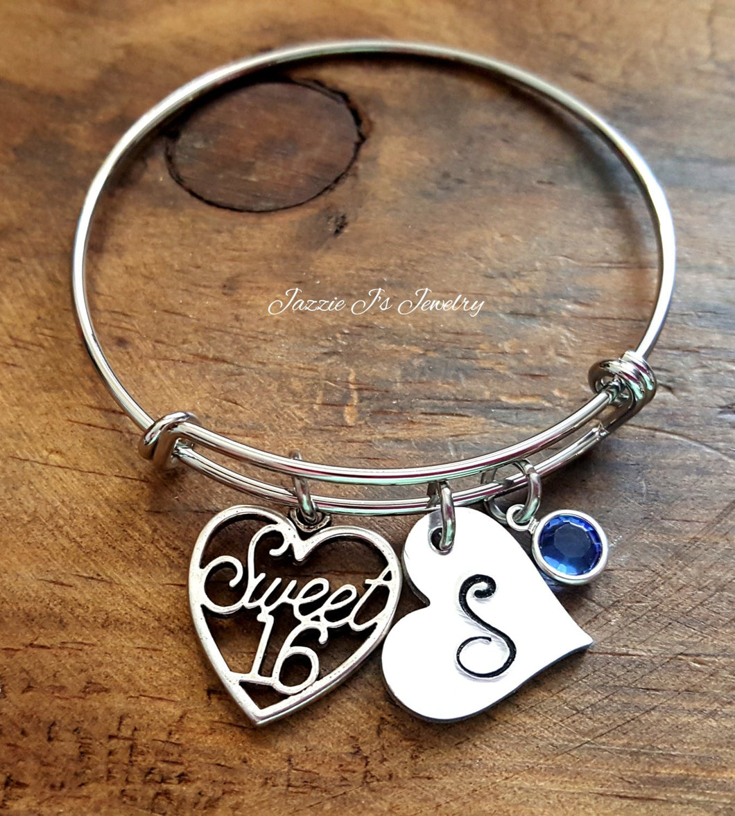 Personalized Sweet 16 Bangle-JazzieJ'sJewelry