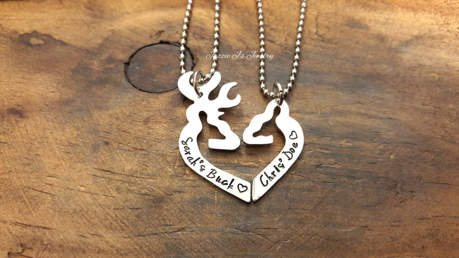 b3103cb97d ... Load image into Gallery viewer, Personalized Her Buck His Doe Necklace  Set-JazzieJ&#