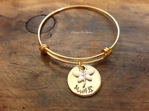 Gold Personalized Dragonfly Bangle-JazzieJ'sJewelry