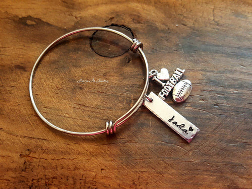 Personalized Football Bangle-JazzieJ'sJewelry