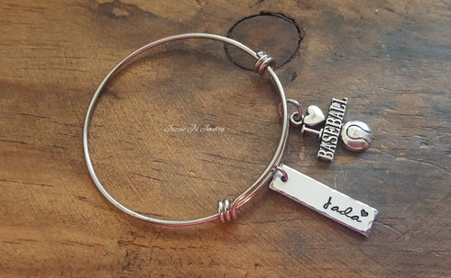 Personalized Baseball Bangle-JazzieJ'sJewelry