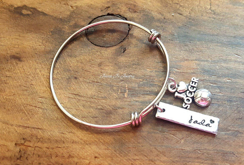 Personalized Soccer Bangle-JazzieJ'sJewelry