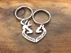 Her Buck His Doe Keychain Set-JazzieJ'sJewelry