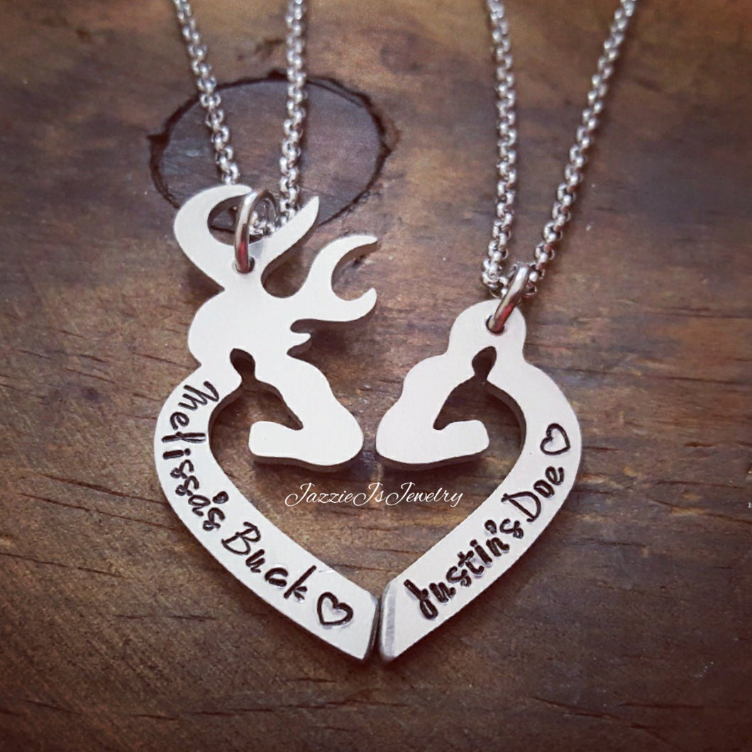 Personalized Her Buck His Doe Necklace Set-JazzieJ'sJewelry