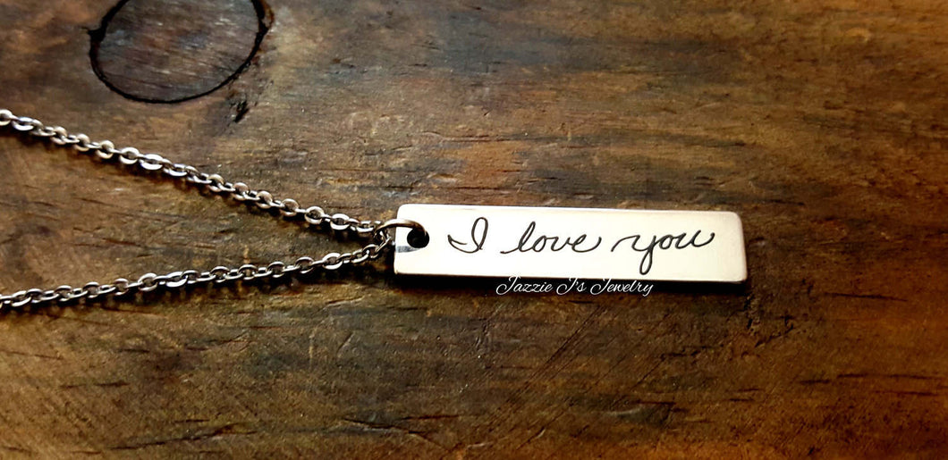 Handwritten Bar Necklace-JazzieJ'sJewelry