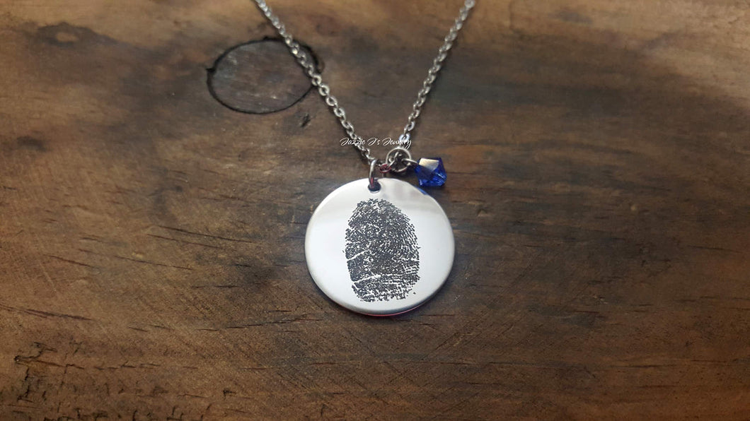 Engraved Fingerprint Necklace-JazzieJ'sJewelry
