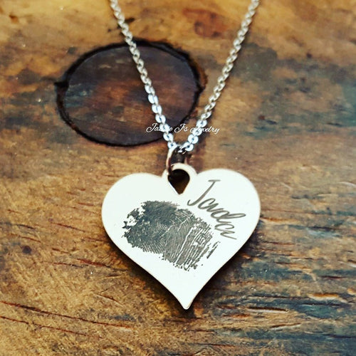 Fingerprint Heart Necklace-JazzieJ'sJewelry