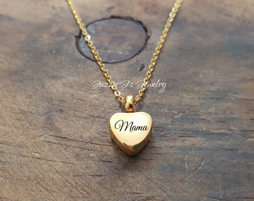 Engraved Gold Heart Urn Necklace-JazzieJ'sJewelry