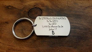 Be Strong & Courageous Keychain-JazzieJ'sJewelry