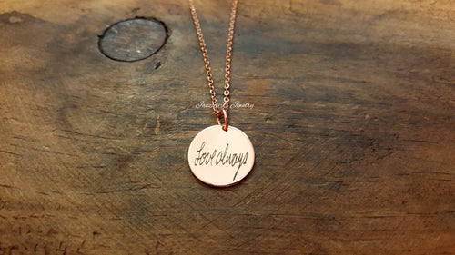 Rose Gold Handwritten Necklace-JazzieJ'sJewelry