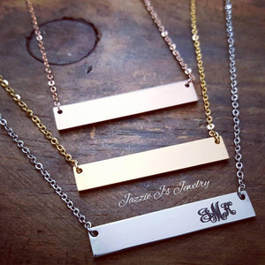 Monogram Bar Necklace-JazzieJ'sJewelry