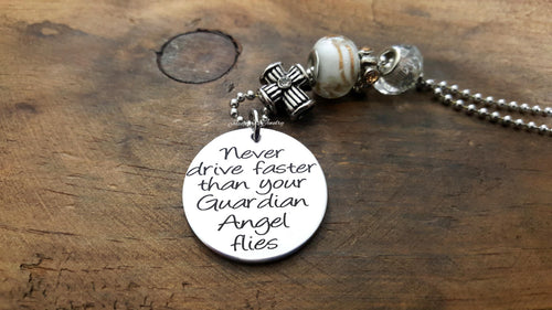 Never Drive Faster Than Your Guardian Angel Flies Car Charm-JazzieJ'sJewelry