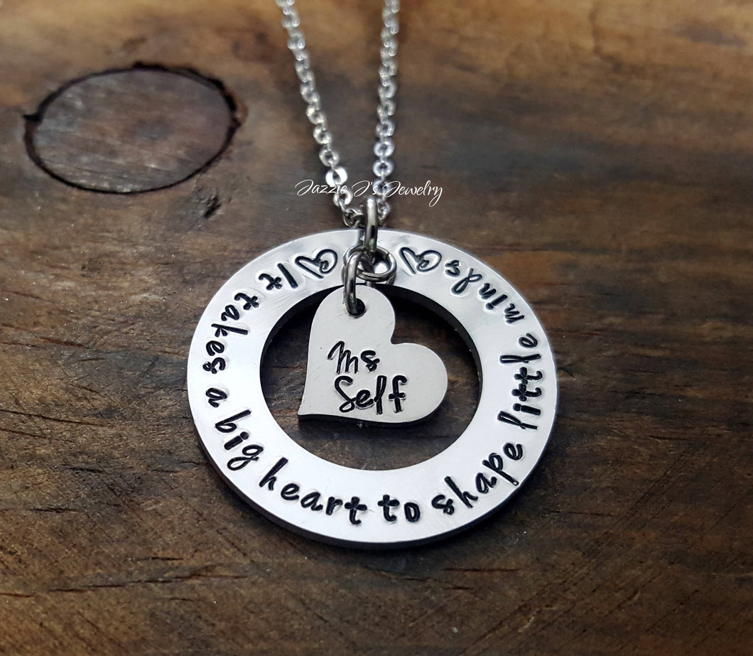 It Takes A Big Heart To Shape Little Minds Necklace-JazzieJ'sJewelry