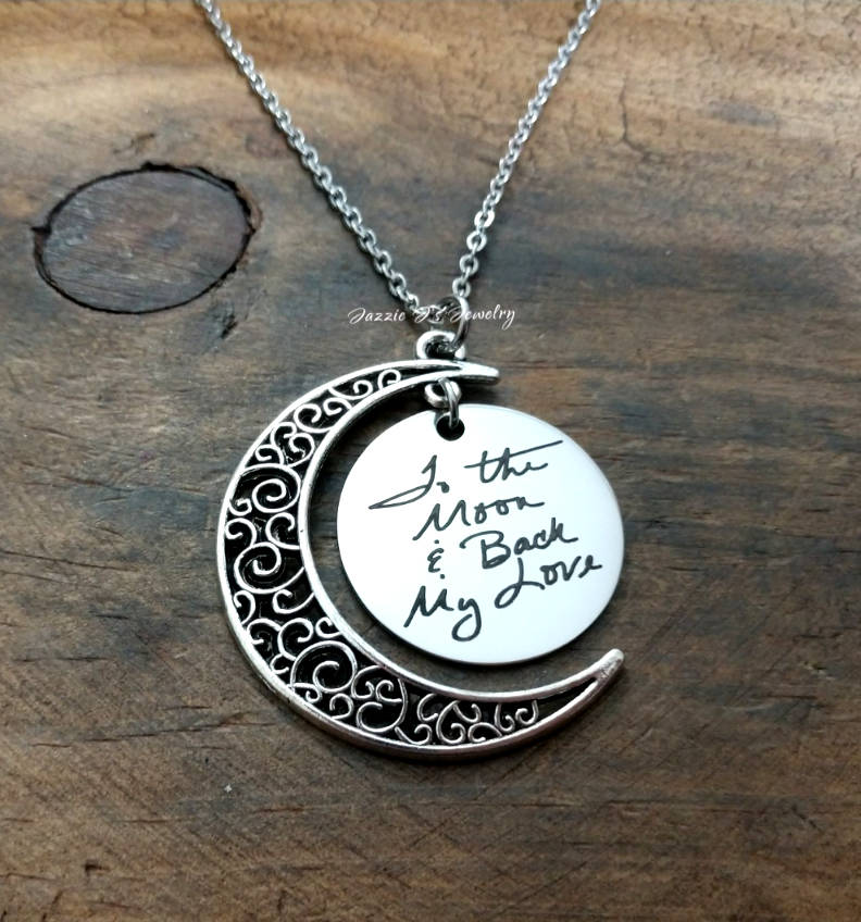 Handwritten To The Moon & Back Necklace-JazzieJ'sJewelry