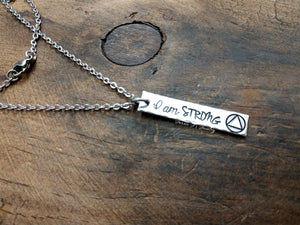 I Am Strong Sobriety Necklace-JazzieJ'sJewelry