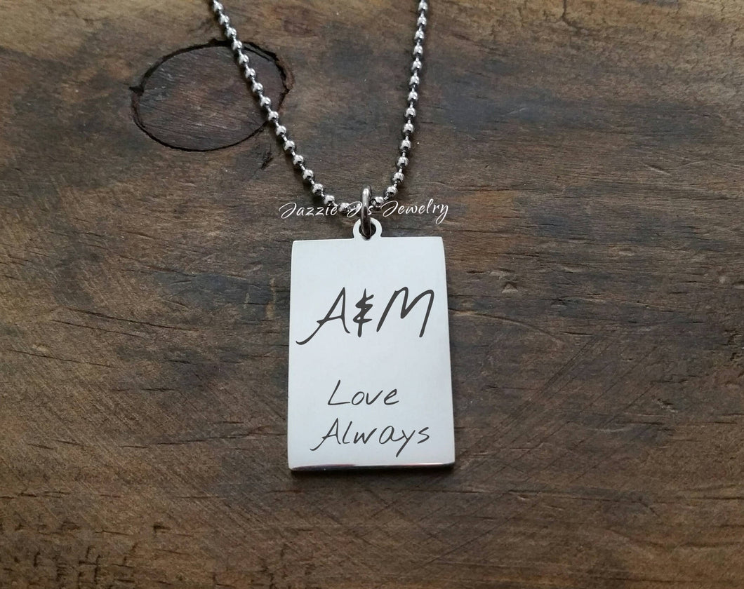 Handwritten Dogtag Necklace-JazzieJ'sJewelry