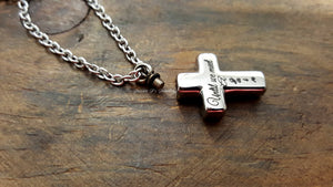Engraved Cross Urn Necklace-JazzieJ'sJewelry