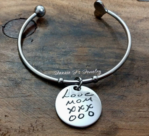 Handwritten Open Bangle-JazzieJ'sJewelry