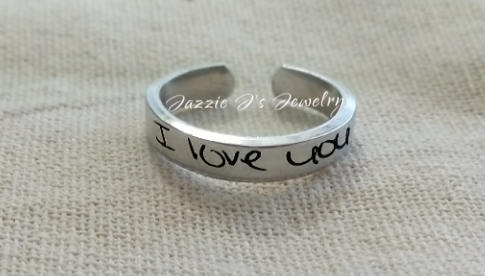 Actual Handwriting Adjustbale Ring-JazzieJ'sJewelry
