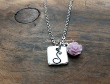 Load image into Gallery viewer, Simplistic Flower Initial Necklace-JazzieJ'sJewelry