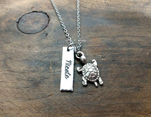 Personalized Turtle Necklace-JazzieJ'sJewelry
