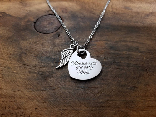 Handwritten Heart with Angel Wing Necklace-JazzieJ'sJewelry