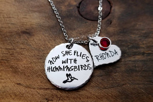 Now She Flies With Hummingbirds Necklace, Hummingbird Memorial Necklace-JazzieJ'sJewelry