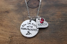 Load image into Gallery viewer, Now She Flies With Hummingbirds Necklace, Hummingbird Memorial Necklace-JazzieJ'sJewelry