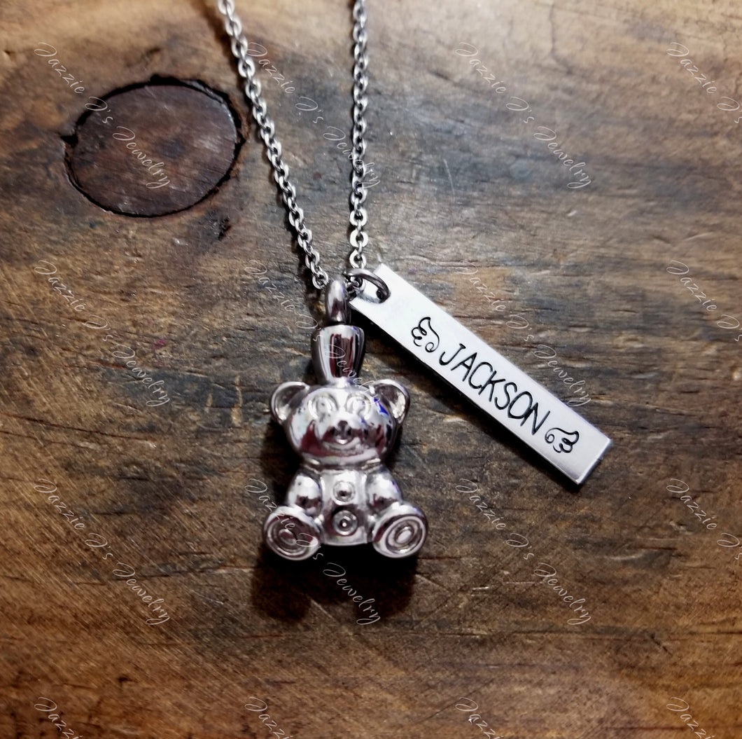 Personalized Teddy Bear Urn Necklace-JazzieJ'sJewelry