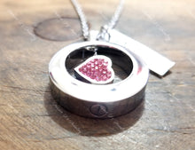 Load image into Gallery viewer, Silver & Pink Heart Urn Necklace-JazzieJ'sJewelry