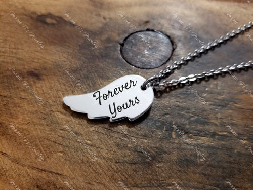 Handwritten Angel Wing Necklace-JazzieJ'sJewelry
