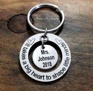 It Takes A Big Heart To Shape Little Minds Keychain-JazzieJ'sJewelry