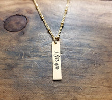 Load image into Gallery viewer, Gold Handwritten Bar Necklace-JazzieJ'sJewelry