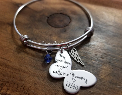 My Guardian Angel Calls Me Mommy Bangle Bracelet-JazzieJ'sJewelry